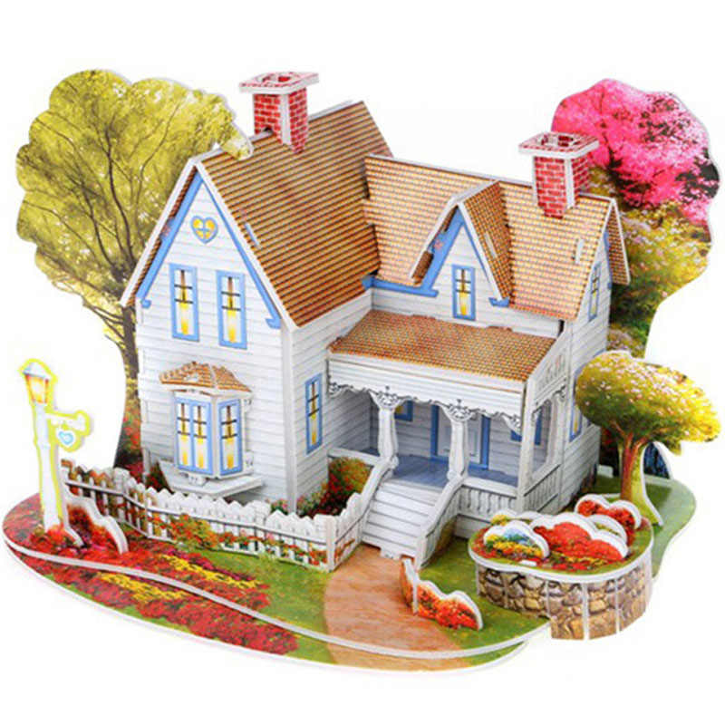 3D DIY Puzzle Castle Model Cartoon House Assembling Kids Toy Montessori Games Construction Pattern Gift Children House Puzzle