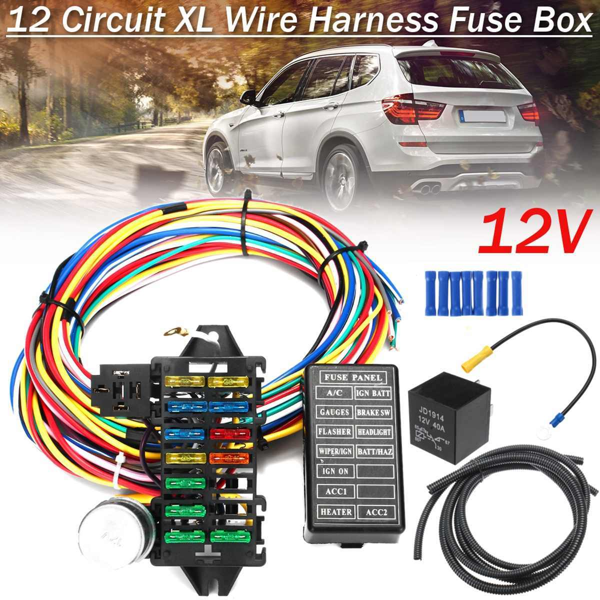 medium resolution of 12 circuit universal wiring harness 14 fuse 12v muscle car hot rod street rod xl wires
