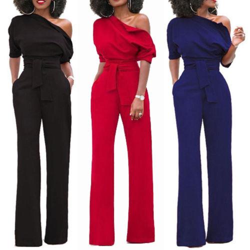 Women's Clubwear Playsuit Short Sleeve Bodysuit Party Jumpsuit Oblique Romper Wide Leg Long Trousers