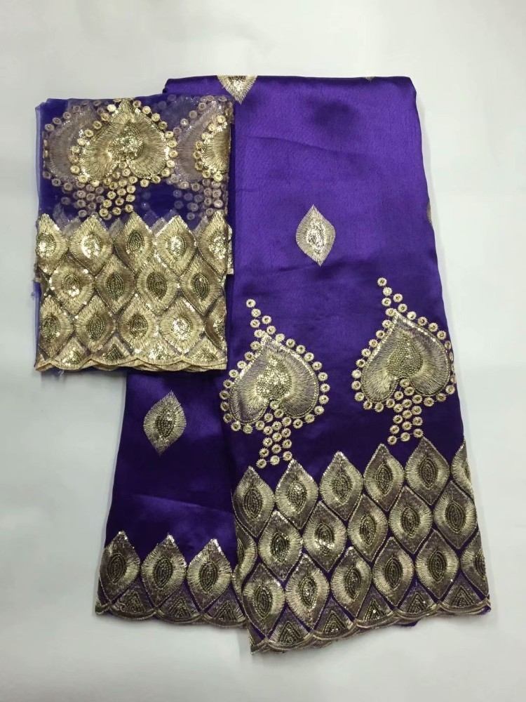 Image 4 - African George Fabric High Quality Indian Raw Silk George  Wrappers Hot Nigerian Lace Fabrics Set with Blouse for Wedding  5 2yardLace
