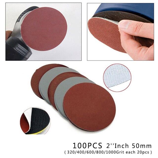 100X50 мм 320/400/600/800/1000 зернистости смешанные шлифовальные диски бумажная липучка петли колеса