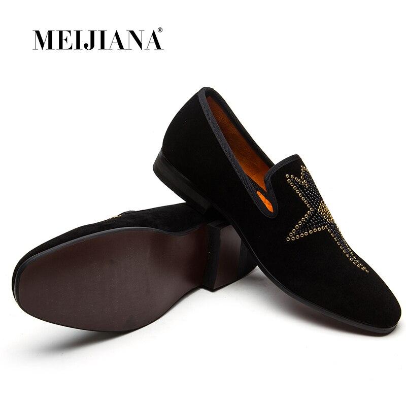 Metal Britânico De Vestido Rivet Não Meijiana Respirável Lantejoulas Casuais Prom Preto Baixos Folha Sapatos Designer deslizamento Nova pExOUq
