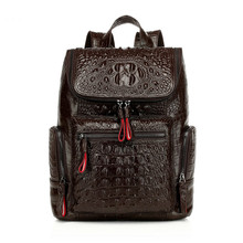 Women Backpack High Quality Split Leather Female Crocodile Prints Large Multifunctional Bag Mochila School Shoulder Bags