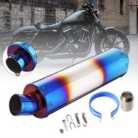 38 48mm Motorcycle Scooter Exhaust Muffler Pipe 420mm Grilled Blue Stainless Steel Exhaust Pipe End with Clamp for Universal car