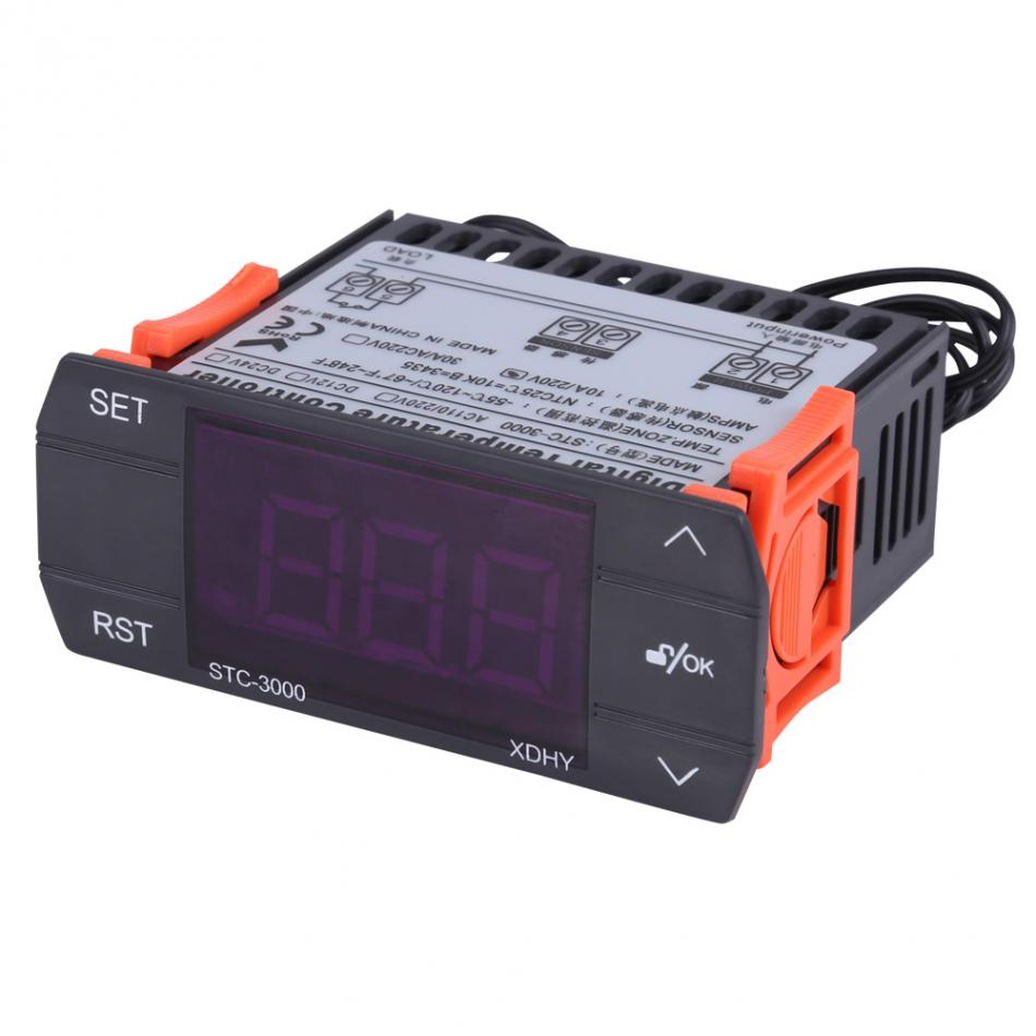 110-220V10A Touch Digital Temperature Controller Thermostat With Sensor STC-3000 Hot