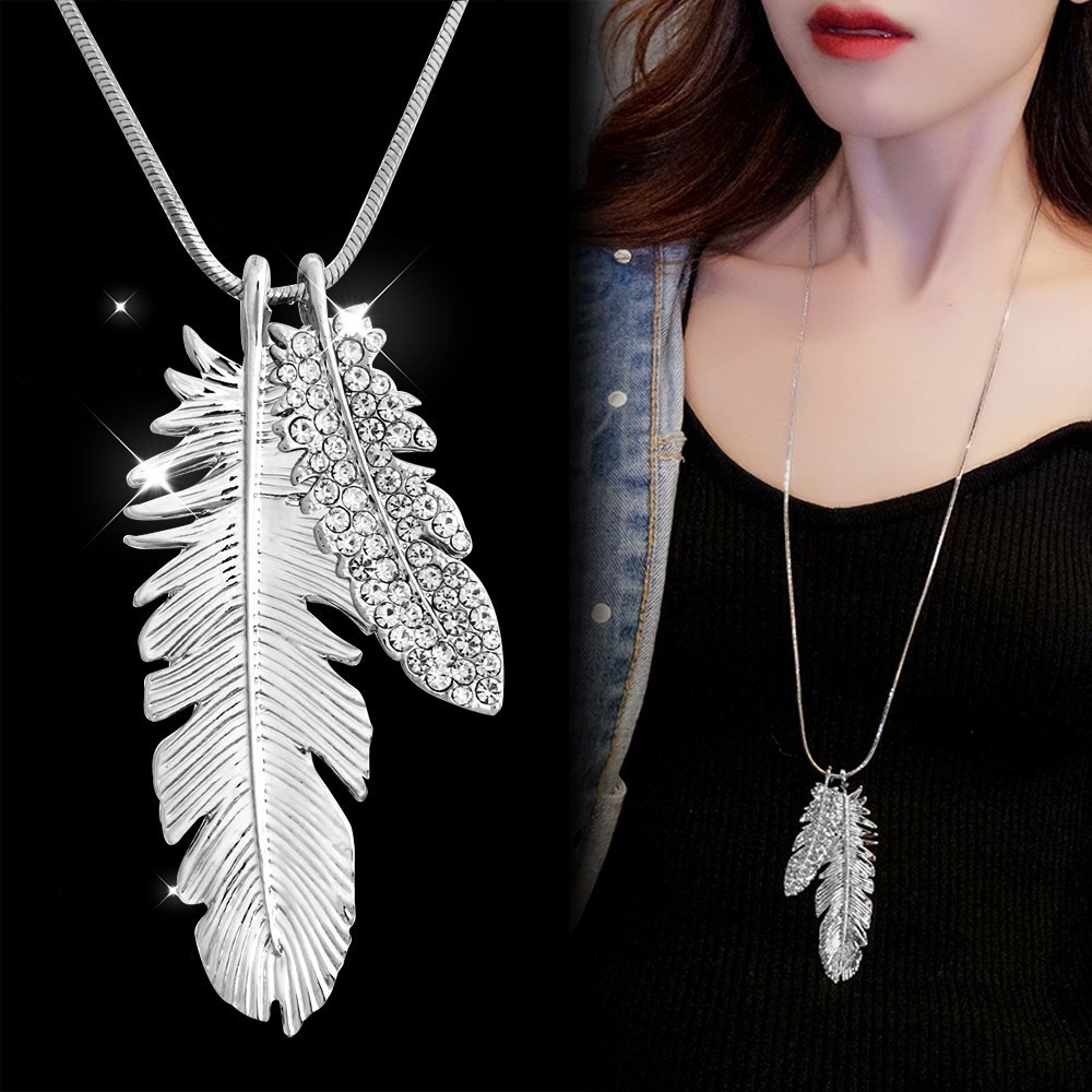 Meyfflin Vintage Long Necklaces For Women Crystal Feather Choker Necklaces Pendanst Fashion Silver Sweater Chain Jewelry Collier