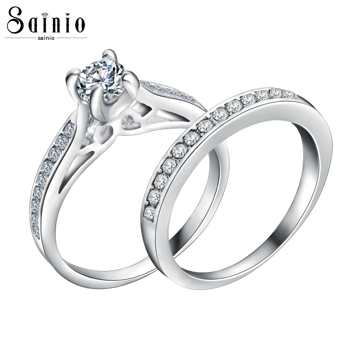 Sainio 2pcs/set Wedding Engagement Rings For Women Men Luxury Classic Crystal Ring Silver Color Lovers CZ Finger Ring Jewelry