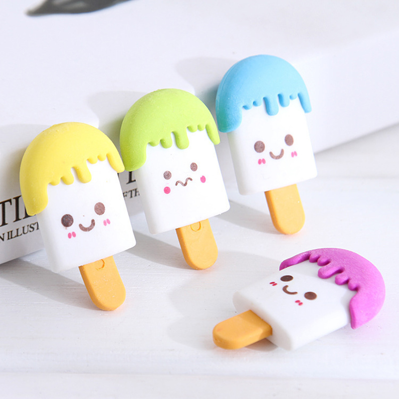 1Piece Cute Popsicle Erasers Creative Ice Cream Erasers Kawaii Rubber Erasers For Girls Kids Gift Correction Supplies Stationery