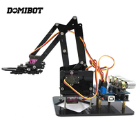 Newest Domibot DIY 4DOF Robot Arm 4 Rotating Mechanical Robot Arm With A rduino R3 4PCS Servo For RC Robot Toys Gift
