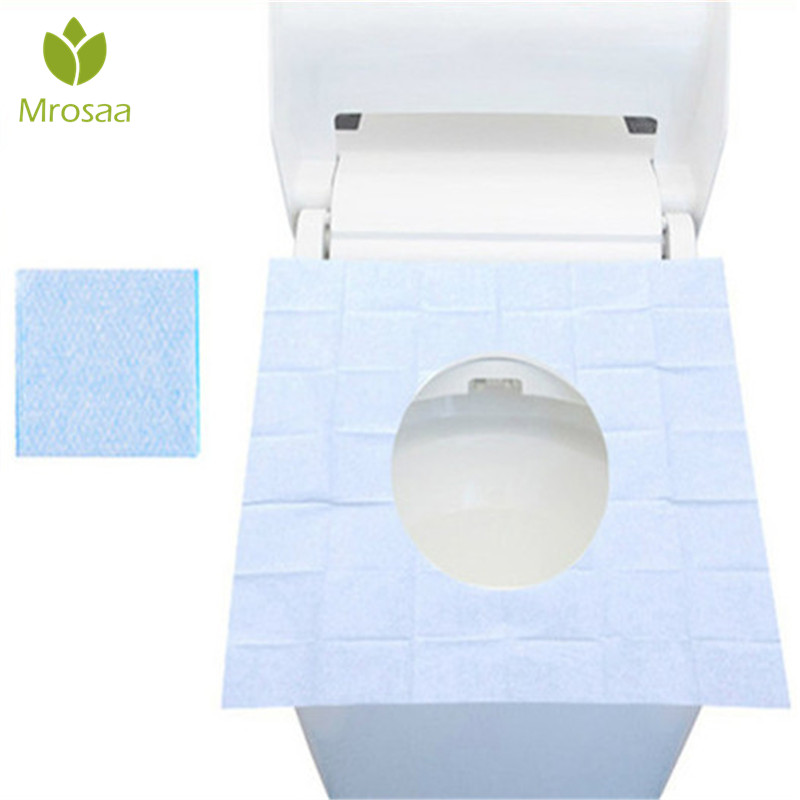 1/10Pcs Mrosaa Disposable Toilet Seat Cover Mat Portable Waterproof Safety Toilet Seat Pad Travel/Camping Bathroom Accessories