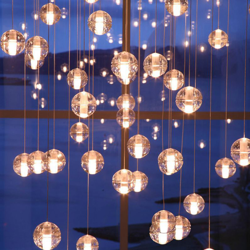 Nordic G4 Led Meteor Pendant Lights Crystal Glass Ball Pendant Lamp Lighting Personality Staircase Hanging Lamp Kitchen Fixture More Discounts Surprises Pendant Lights