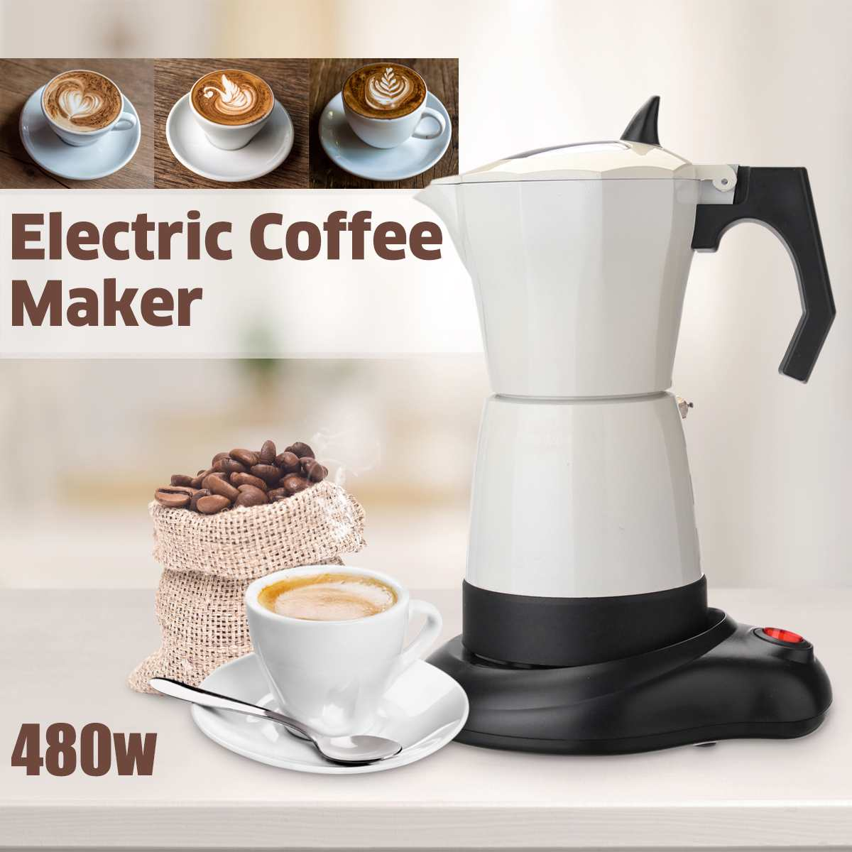 480W 6 Cups Electric Tea Coffee Maker Pot Espresso Machine Mocha Removable Coffee Kitchen Tool Home Office Easy To Clean|Coffee Makers| |  - title=