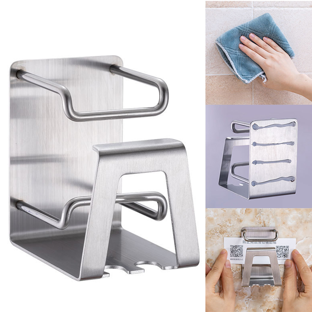 Punch-free Self-adhesive Organizer Toothbrush Holder Stainless Steel Bathroom Accessories Toothpaste Hook Wall Mount image