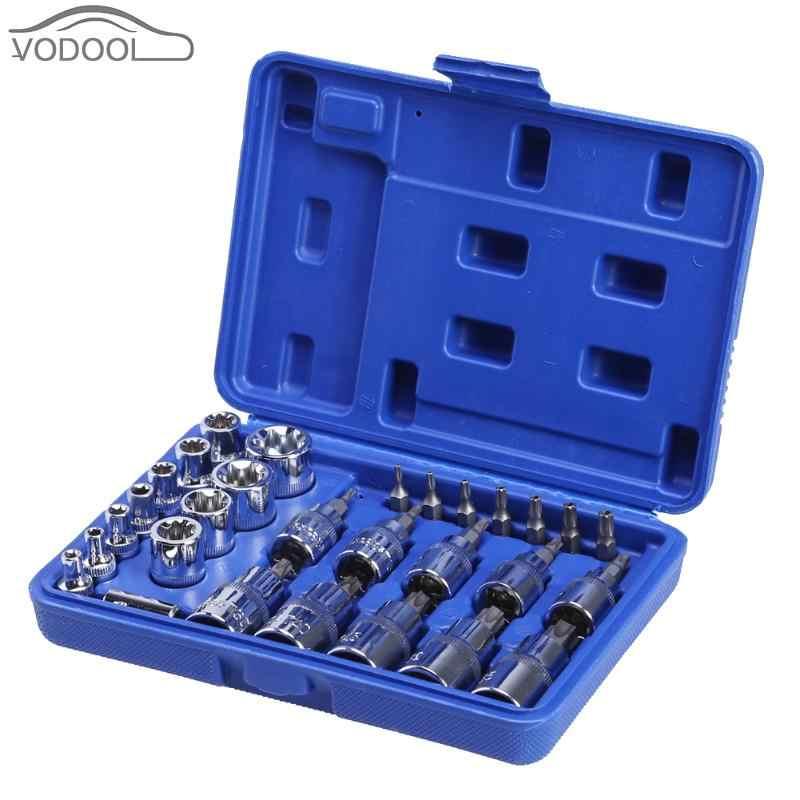 29Pcs/Box Torx Star Socket Screws Bit Set Male Female E & T Sockets Screwdriver Sleeve Auto Car Repair Tools Kit