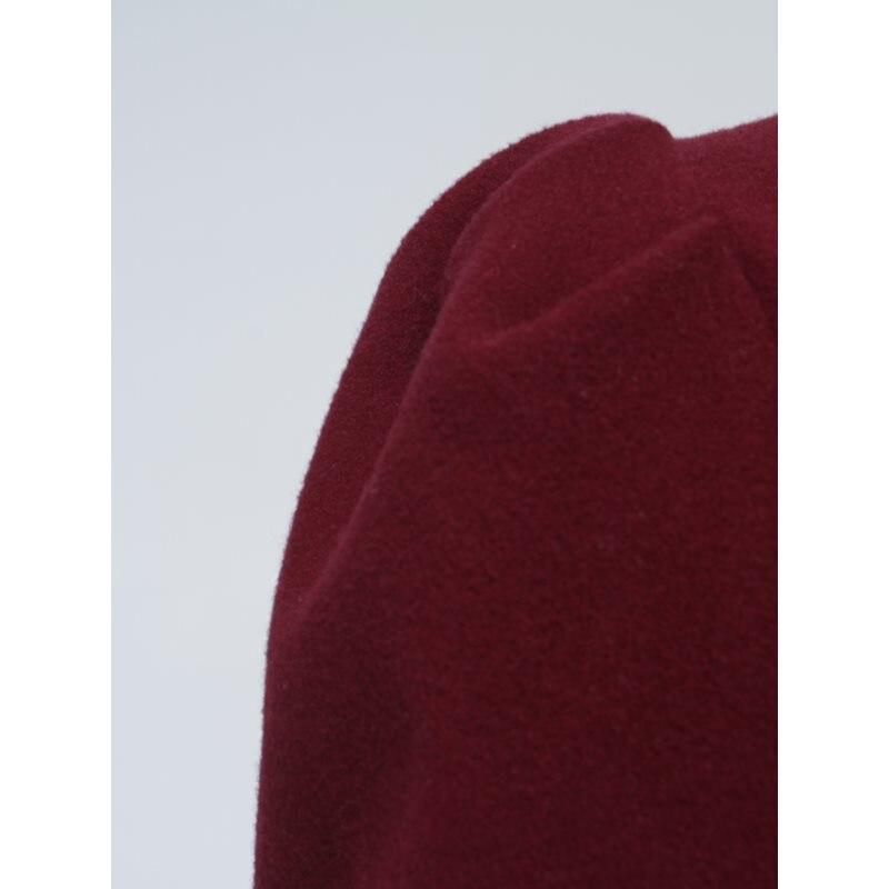 Dell'annata Marca Ufficio Di Della Autunno Borgogna Caldo Inverno Elegante Increspature Cappotto Modo Sportiva Casual Donne Lungo Lana Tuta Solido Usura Sottile wqCIIt