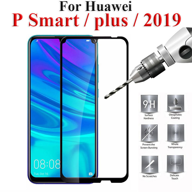 Protective Glass On For Huawei P Smart Plus 2019 p30 Tempered Glass Psmart Hauwei Huawey Huavei Full Cover Screen Protector Film
