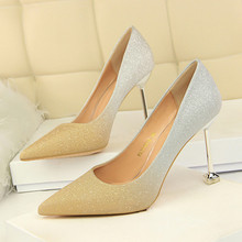 2018 Shoes Woman Sequins Pointed Toe Sexy Women Party Wedding Nightclub Mixed Colors Thin High Heel Pumps Women Shoes DS-A0193 asumer fashion pointed toe mixed colors shallow pumps shoes woman thin heel wedding shoes women high heels genuine leather shoes