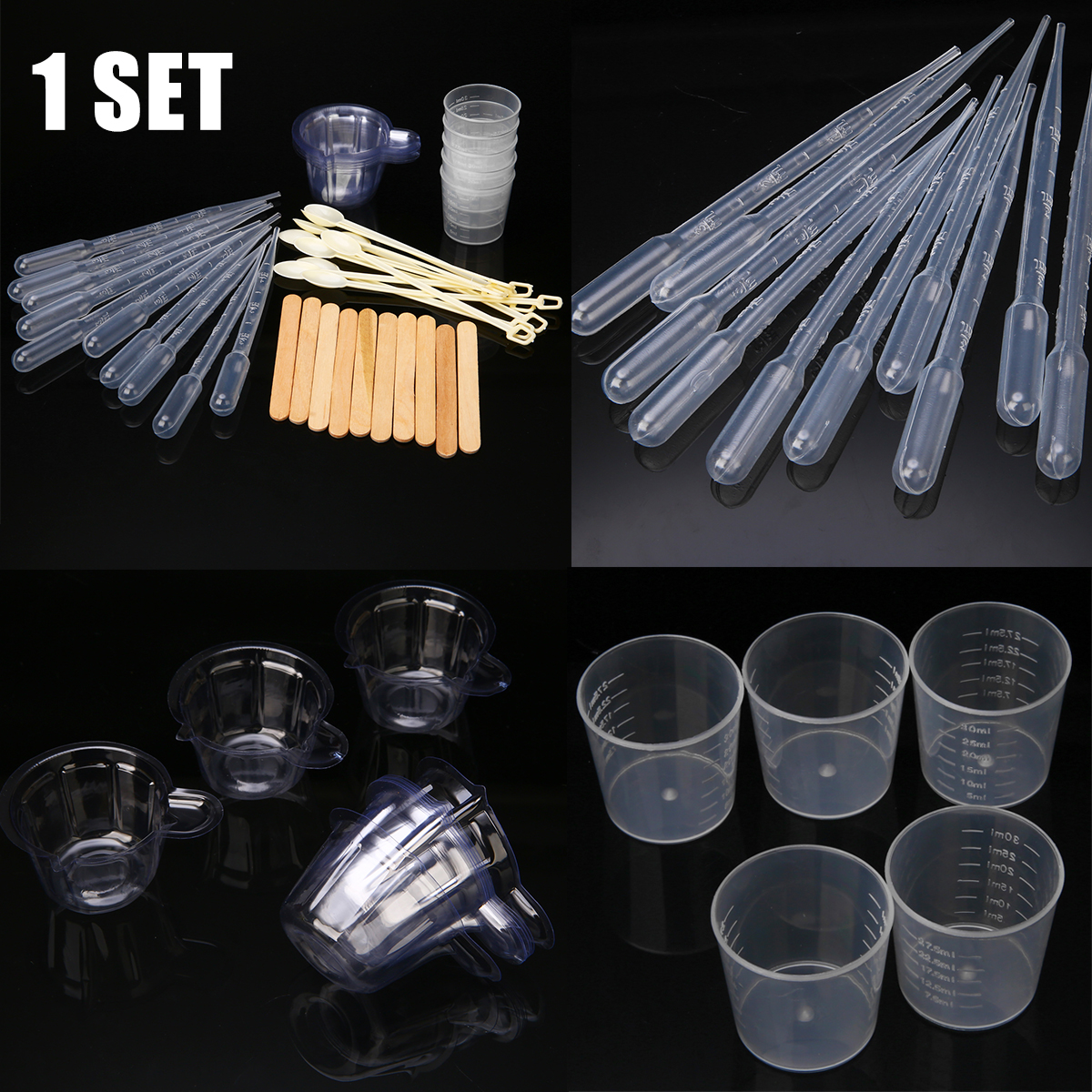 1 Set Making Resin Mould Resin Jewelry Making Tool Casting Handcraft Jewelry Kit With Spoons Cups Sticks Stirrers Droppers