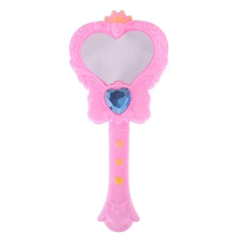 1 pc Rosa Bonito Fada Mágica Acessório Maquiagem Espelhos Espelho de Plástico Boneca de Brinquedo Para O bebê Crianças Pretend Play Toy Educacional presente