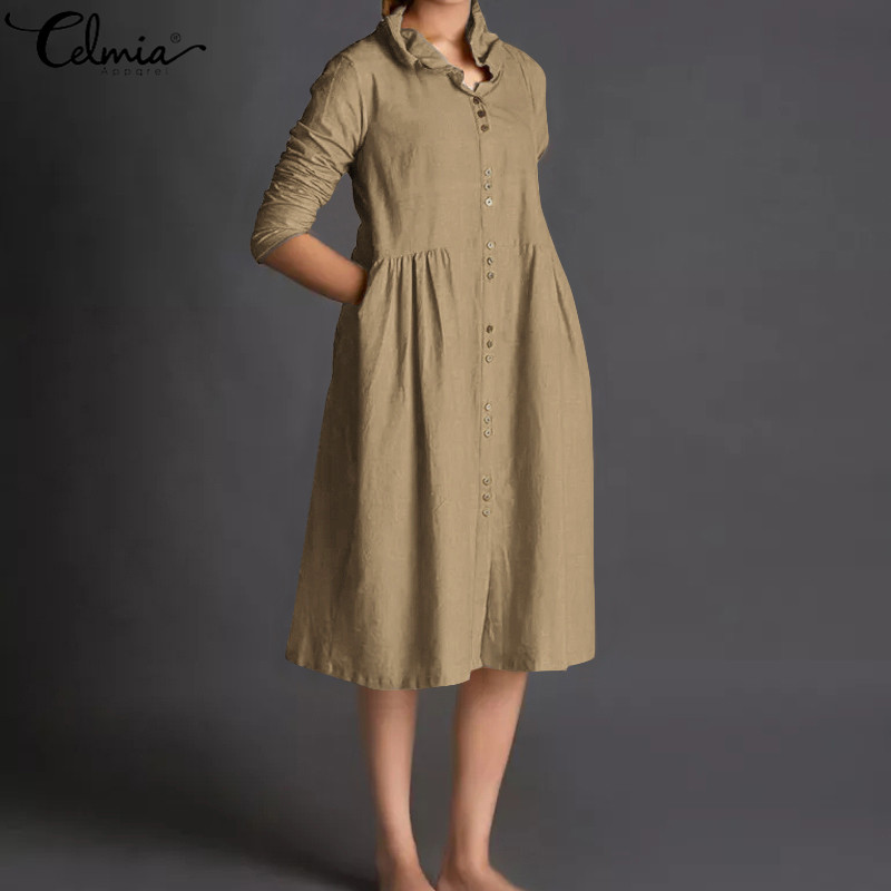 Celmia Vintage Shirt Dress Women Long Sleeve Button Down Loose Linen Dress 2019 Female Casual Pleated Party Vestidos Plus Size