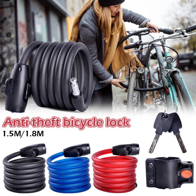 1 5 1 8m Long Steel Wire Bike Lock Anti theft Castle Lock Electric Car Motorcycle