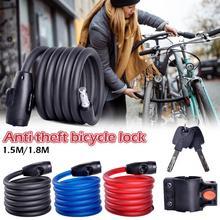 1,5-1,8 м длинный стальной провод велосипедный замок Противоугонный замок электрический автомобиль, мотоцикл Цикл MTB велосипед велосипедный замок безопасности аксессуар