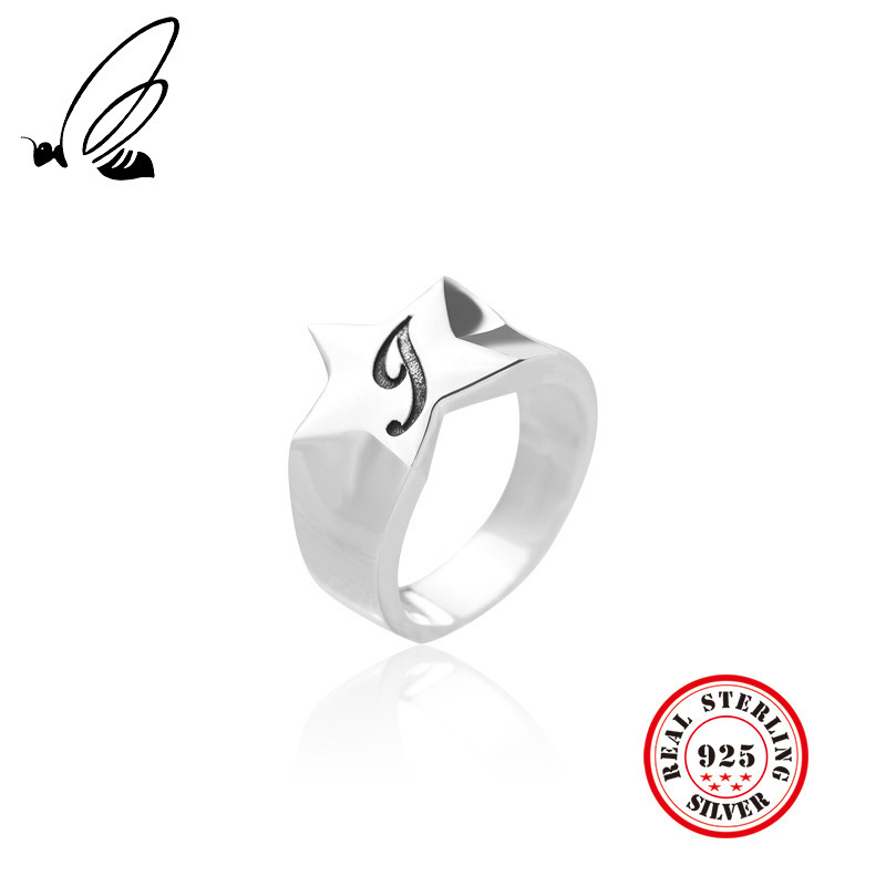 100% 925 Sterling Silver Rings Jewelry Star Letter G Vintage Women Party Thai Accessories Gifts