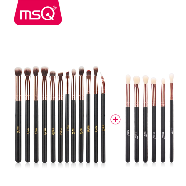 MSQ 18 piezas ojo pinceles de maquillaje conjunto profesional de sombra de ojos de pinceles de maquillaje de pelo sintético sin piel daño