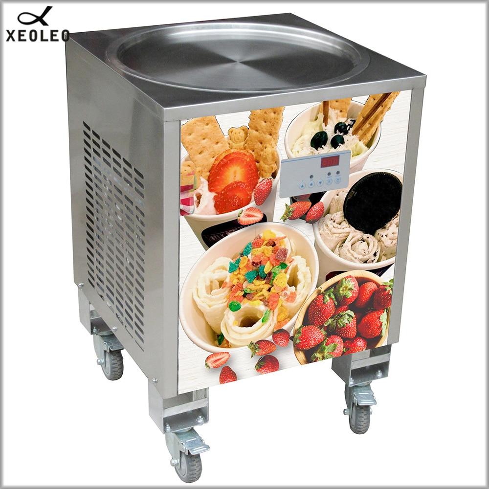 XEOLEO Таиланд обжарить льда Roll Мороженое maker 50 см лед сковороды machine800W йогурт машина R410A круглой формы горшок 110/220 V