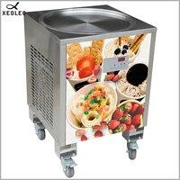 XEOLEO Thailand Fry Ice machine Roll Ice cream maker 50CM Ice Frying machine800W Yogurt machine R410A Round shape pot 110/220V|Ice Cream Makers| |  -