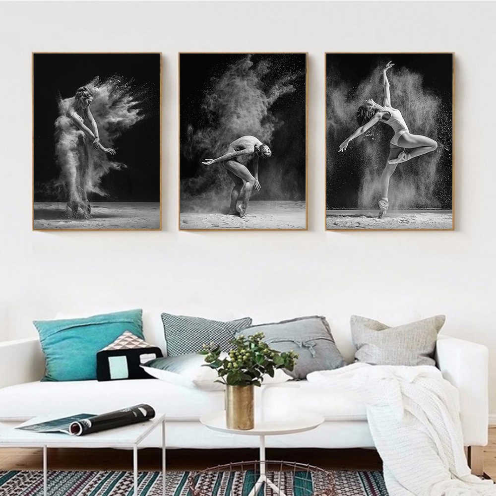 White Black Dance Body Wall Art Canvas Oil Painting Picture Poster Decor for Home Living Room Decoration Pictures No Frame