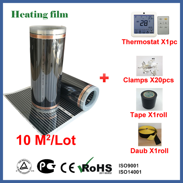 TF Far infrared floor heating film 10 square meters, 220V carbon fiber floor heating film with termostat and cable sensor