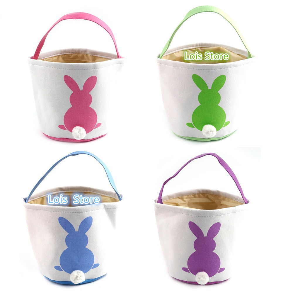 Wholesale Easter Basket Bag 11pcs lot Canvas Easter Baskets for Kids Blank Easter Bunny Tail Buckets