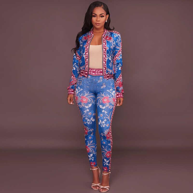 Комплект из 2 предметов, Блейзер, модный спортивный костюм с цветочным принтом, куртка с длинными рукавами, костюм для женщин, большие размеры, наряды, винтажная уличная одежда, шт
