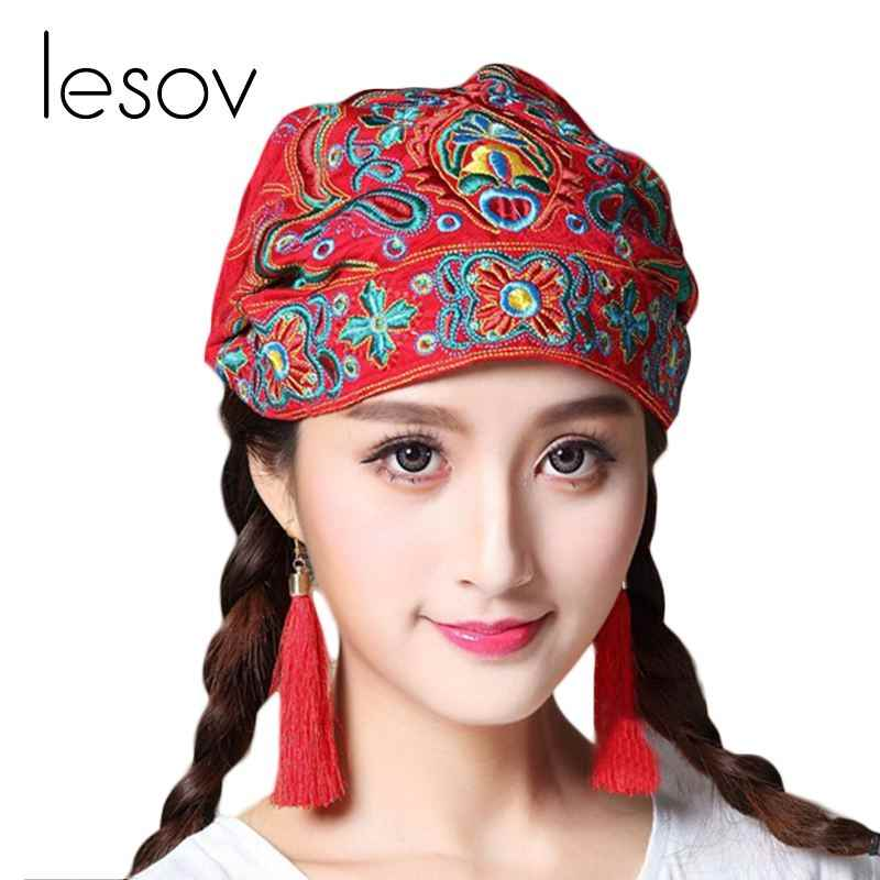 Lesov Bohemian Retro Beanie Hat Women Embroidery Flower Ethnic Cotton Turban Cap Elastic Breathable Vintage Skull Cap Bonnet New