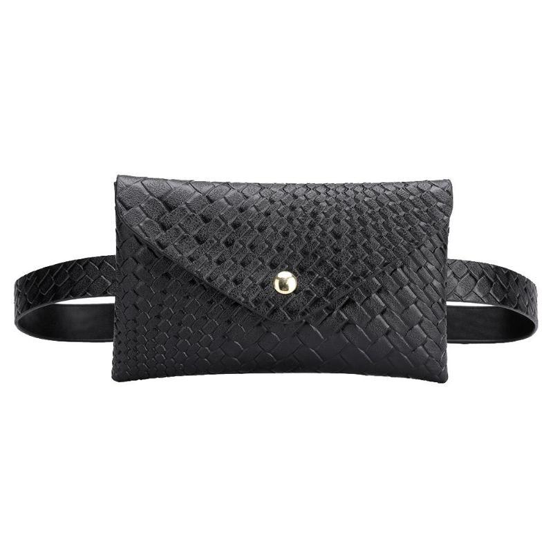 Solid Color Women Shoulder Waist Bags Fanny Belt Packs Phone Pouch Women PU Leather Crossbody Casual Messenger Chest Bags