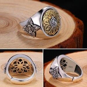 Image 3 - ZABRA 925 סטרלינג כסף ספין טבעת לגברים נשים פתוח גודל 2 אפשרויות בודהה שש מילות חותם טבעת בציר רוק תכשיטים