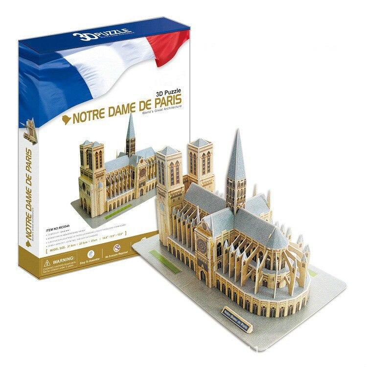 Puzzle 3d Construction Notre Dame De Paris enfants jouets éducatifs papier Iq Puzzle Enfant modèle kit De bricolage Puzzles pour enfants nouveau