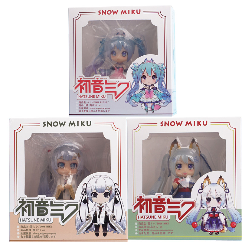 Miku Figurine Q Version 2018 Snow Miku Hatsune PVC Action Figures toys Anime figure Toys For Kids children Christmas Gifts