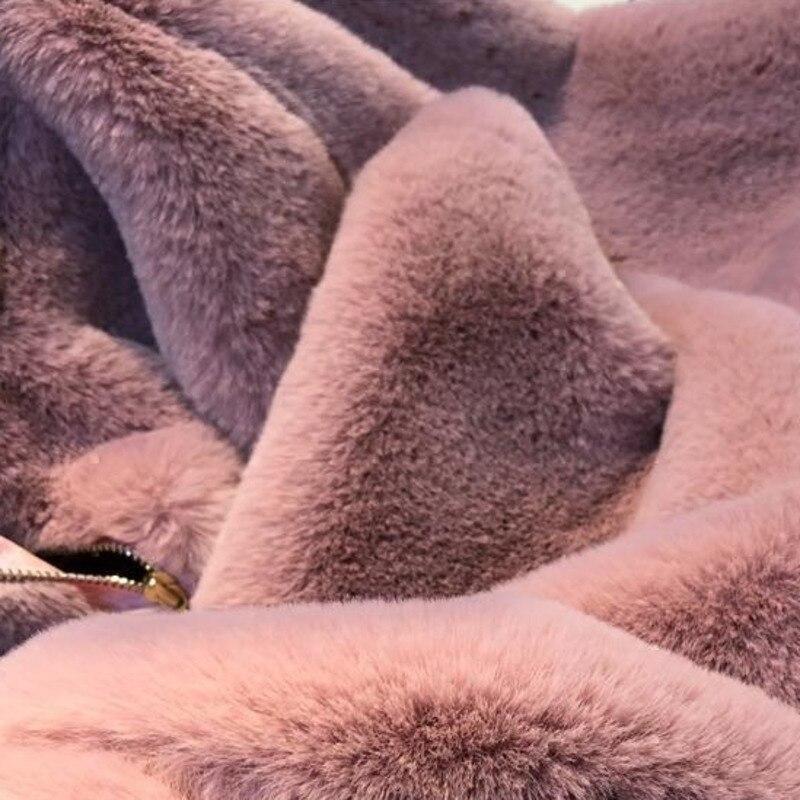 Manteau Long black Vintage Coréen Plus À Capuchon gray La Femmes Chaud 2018 Colour Lâche Artificielle Pink Vêtements Épais J432 Fourrure D'hiver Faux Occasionnel Taille w6qOtg