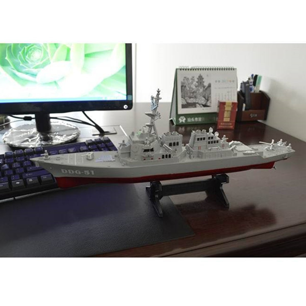 Army Guided Missile Destroyer Ship Model Static Toys With Display Stand Warship Model DIY Educational Toys Hobbies Children Gift