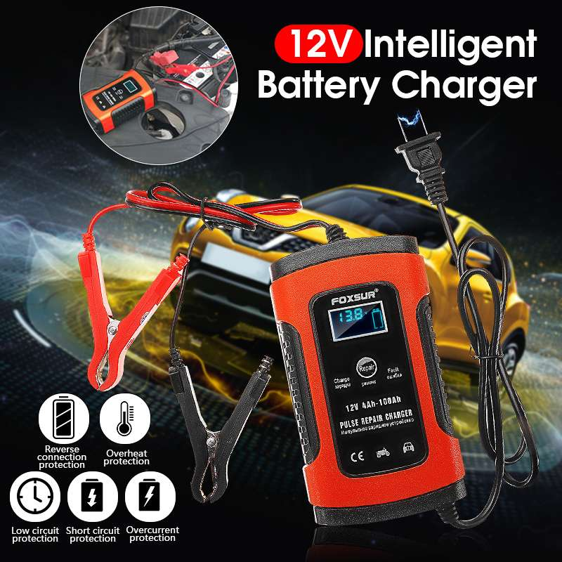 EU/US Plug 12V 5A LCD Pulse Repair Battery Charger For Car Motorcycle AGM Gel Wet Lead Acid Overheat Protection Restore Drained