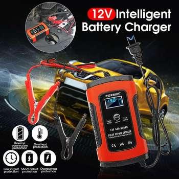 EU/US ปลั๊ก 12 โวลต์ 5A LCD Pulse Battery Charger สำหรับรถรถจักรยานยนต์ AGM Gel Wet Lead Acid ป้องกันความร้อนสูงเกินไปคืน Drained