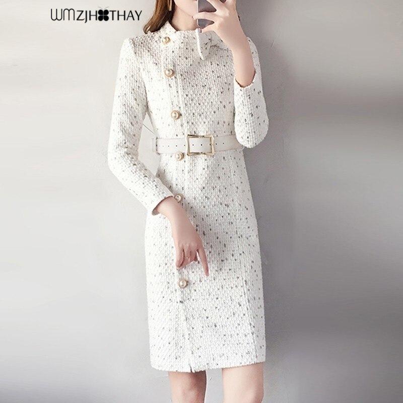 Vintage Robe D'hiver Femmes Mode Patchwork Arc Gaine Robes Tempérament Taille Définie Minceur Épais De Laine Robes Robes