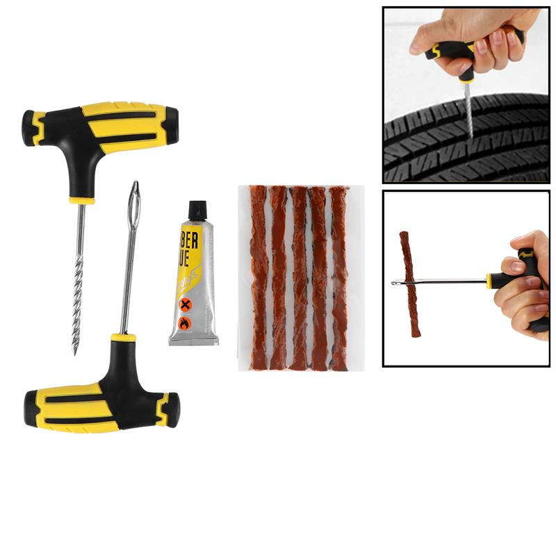 2 Sheets Tubeless Tyre Puncture Repair Strip Car Bike Motorcycle Tire Rubber Repairing String Useful and Practical