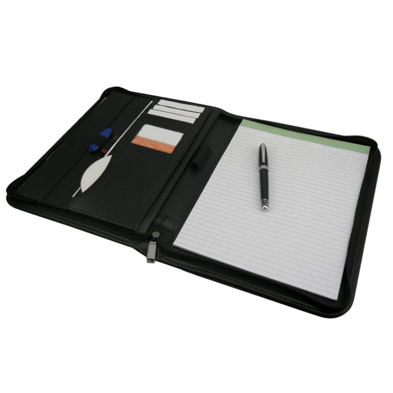 A4 Portfolio Folder With Zippered Closure Multi-Functional PU Leather Organizer For Office Use With Clip Writing PadsA4 Portfolio Folder With Zippered Closure Multi-Functional PU Leather Organizer For Office Use With Clip Writing Pads