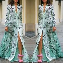 Women Summer Bohemia Print Dress Turn-down collar Long Sleeve Shirt Dress Lace Spliced Loose Maxi Dress stylish sleeveless turn down collar spliced dress for women