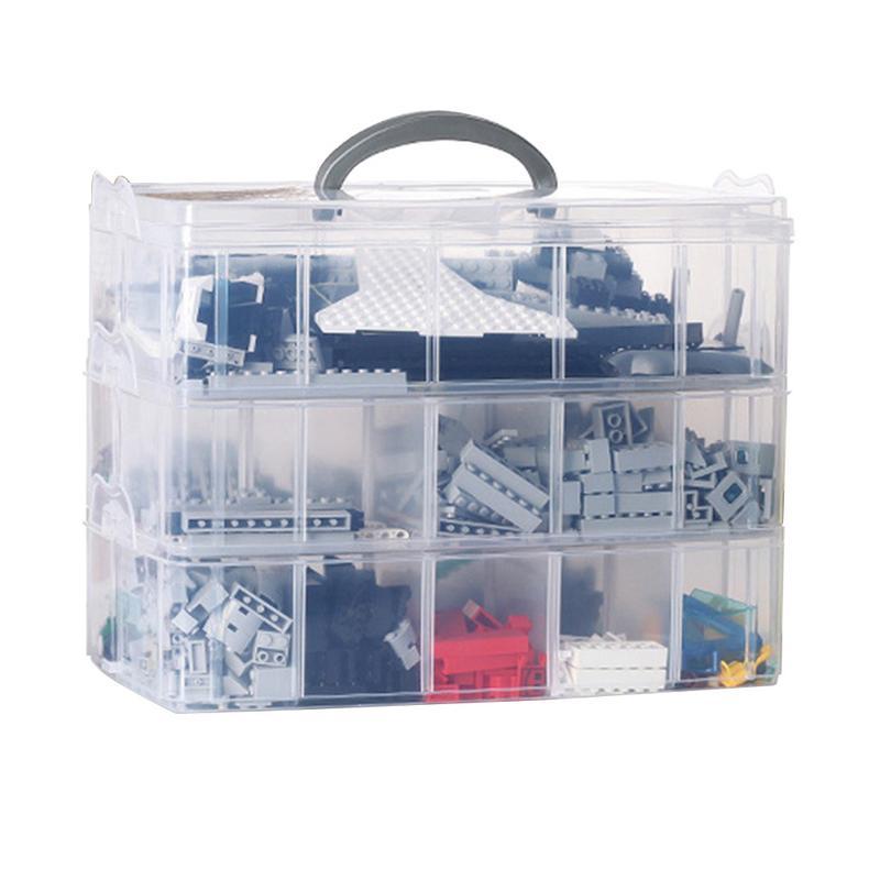 Storage Box Detachable 30 Grid Portable Three Layer Plastic Multi functional Storage Box Makeup Organizer For Toy Accessories