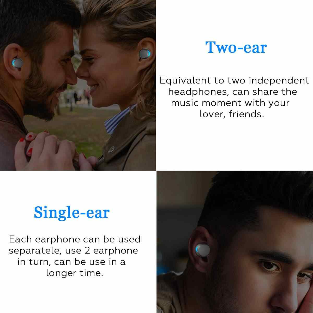 Bluetooth 5.0 tura bezprzewodowe słuchawki Mini słuchawki TWS bezprzewodowe stereofoniczne IPX8 pływanie sportowe słuchawki 3000 mAh okno ładowania