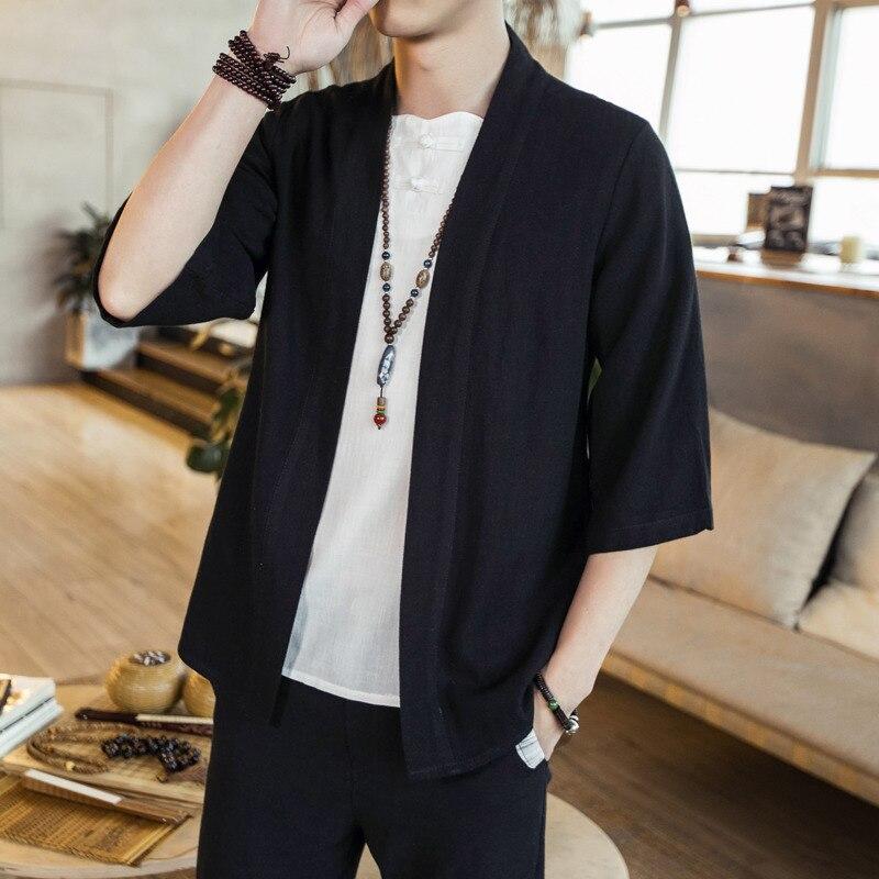 #4309 Summer Cotton Linen Kimono Shirt Men Vintage Loose Plus Size 5XL V-neck Cardigan Casual Traditional Chinese Kimono Hip Hop